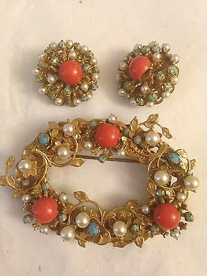 Vintage AMOURELLE Pin Brooch And Earring Set Flowers 1960s Rare