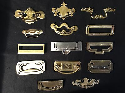 14 Vtg Antique Solid Brass MCM Drawer Pull Knob Eames Atomic Era Mid Century