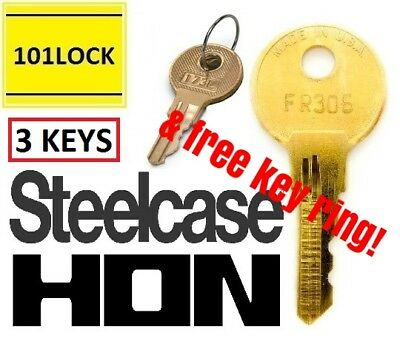 3 Keys ! by Code Chicago STEELCASE HON Desk Drawer File Cabinet Office Furniture