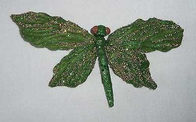 "7.75"" Clip-On DRAGONFLY Ornament Insect Bug Beaded Glitter Green Craft Figurine"