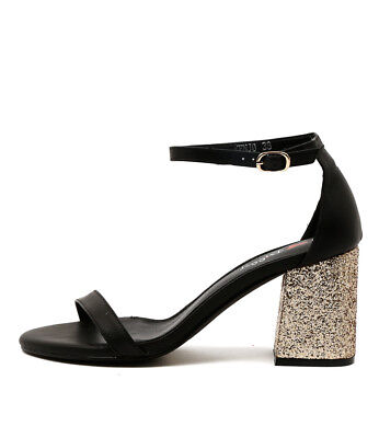 New I Love Billy Kenjo Black Gold Womens Shoes Dress Sandals Heeled