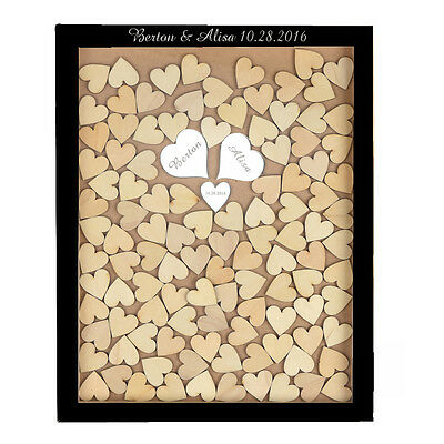 Personalized Engraved Drop Top Wooden Wedding Guest Book Frame 130Pcs Wood Heart