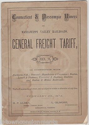 Connecticut Rivers Railroad Massawippi Valley Antique Rr Tariff Rates Book 1872