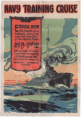 Wwi Navy Training Cruise Recruitment Poster By Ruttan & Naval Documents Lot 1916