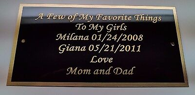 """Engraved  3"""" x 6"""" Solid Brass Plate Picture Frame Art Memorial FREE Engraving"""