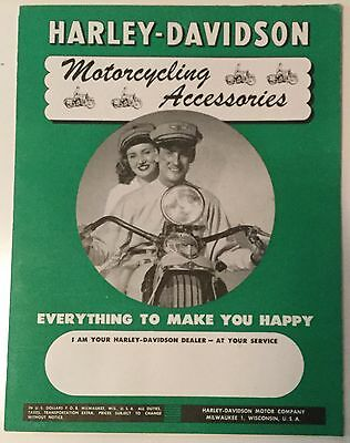 VINTAGE 1948 HARLEY DAVIDSON MOTORCYCLE ACCESSORIES CATALOG very High Grade