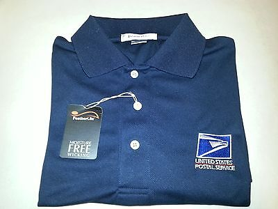 USPS Embroidered MOISTURE WICKING Polo Shirt / Navy Blue /DRYFIT  Size: Sm - 2XL