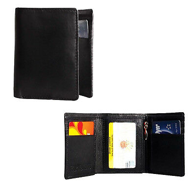 New Cenzoni Genuine Leather Black Trifold Wallet RFID Protected Pub Card Mens