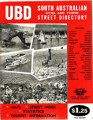 UBD SOUTH AUSTRALIA (N) CITIES & TOWNS STREET DIRECTORY FIRST EDITION c1967  eq