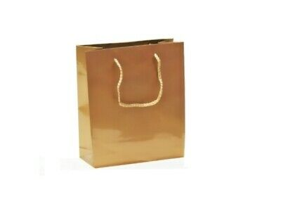 50 x GOLD GLOSSY LAMINATED PAPER GIFT CARRY SHOPPING BAGS BULK - SMALL MEDIUM