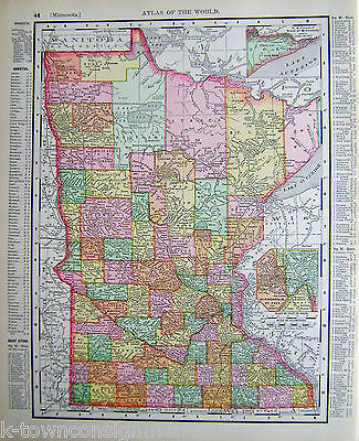 Minnesota State Antique 1898 Graphic Illustration Map Atlas Print