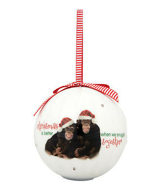 CHIMPS Santa Hats Christmas is Better SNUGGLE Together Ornament Ball Blinking