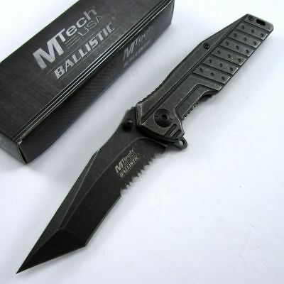 SPRING-ASSIST FOLDING POCKET KNIFE Mtech Gray Stone Serrated Tanto Tactical EDC