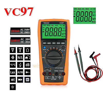 VC97+ MULTIMETER DIGITAL LCD VOLTMETER AUTO RANGE TESTER AMMETER OHM AC DC new