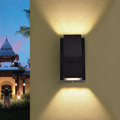Up/Down 6W LED Wall Sconce Light Fixture Outdoor Lamp Waterproof Walkway Balcony