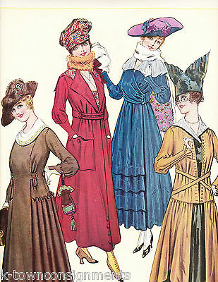 WOMEN IN FINE DRESS & THICK SCARFS VINTAGE 1920s GRAPHIC ART FASHION AD PRINT