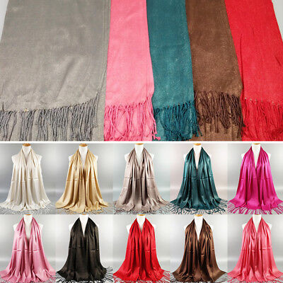 Chic Women Glitter Tassel Long Pashmina Hijab Scarf Scarves Wrap Stole Shawl