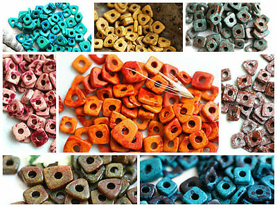 Ceramic Chip Beads Tiny Spacer Washer Square Triangle VARIOUS COLORS DIY Jewelry
