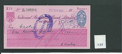wbc. - CHEQUE - CH858 - USED -1955 - NATIONAL PROVINCIAL, WETHERBY