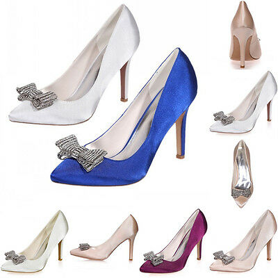 Satin White Bridal Wedding Shoes High Heel Prom Party Formal Bow Shoes Size 8 10