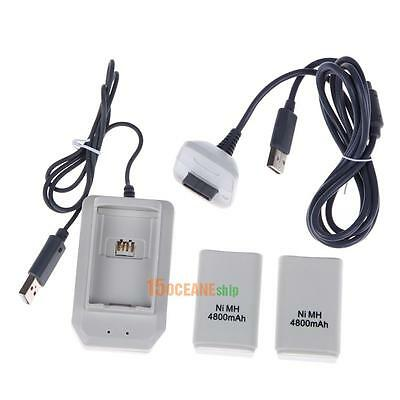 2X4800mAh Rechargeable Battery + Charger Charge Cable for Xbox 360 Controller