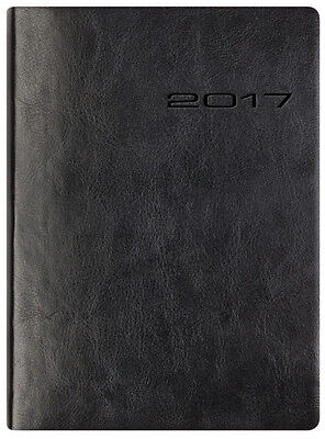 A5 Letts Black Lecassa Leather Look Week to View (On 2 Pages) Planner Diary 2017