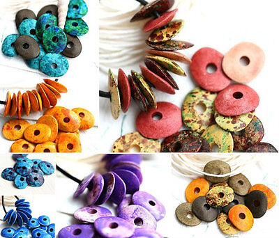 16mm Ceramic Cornflake Beads Spacer Washer Rondel Rondelle Donut Large Hole 10pc