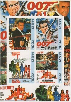 James Bond 007 Sean Connery Spy Movie Angola Imperforated Mnh Stamp Sheetlet
