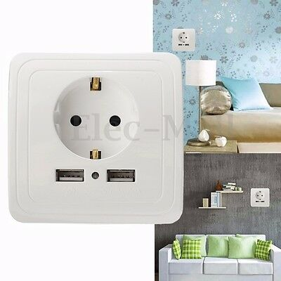 16A Wall Socket Power Outlet Panel Dual USB Port Wall Charger Adapter EU Plug