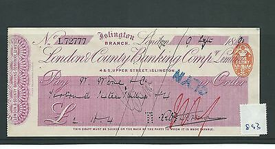 wbc. - CHEQUE - CH893 - USED -1890 - LONDON & COUNTY BANKING, ISLINGTON, LONDON