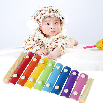 8 Note Metal Kids Children Xylophone Musical Instrument Wooden Colorful Toys New