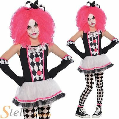 Girls Circus Sweetie Clown Costume Jester Halloween Fancy Dress Child Outfit