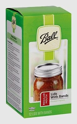 New!! Box 12 BALL Regular Mouth Bands w/ Dome Lids For Mason Jars Canning 30000