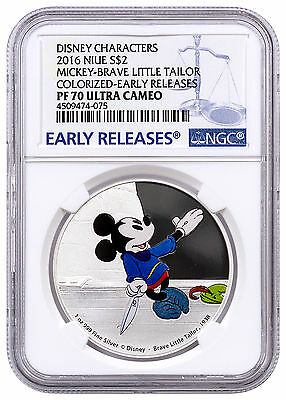 2016 Niue 1 oz Silver Disney Mickey Brave Little Tailor NGC PF70 UC ER SKU42784