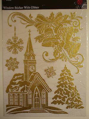 Christmas window stickers with gold glitter church bells