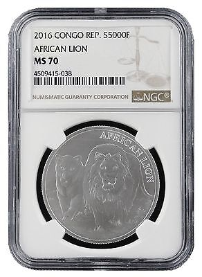 2016 1 oz Congo Silver African Lion Coin NGC MS70 - Brown Label