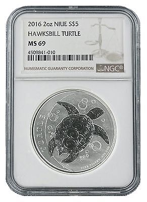 2016 Niue 2oz Silver Hawksbill Turtle NGC MS69 - Brown Label