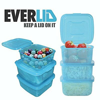 Everlid Plastic Food Storage Containers with REVOLUTIONARY attached lid set of