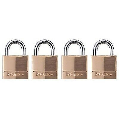 "4 Master Lock Brass Padlock Set Keyed 3/4"" Luggage Small Cabinet Safe Door Fence"