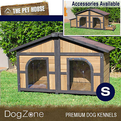 NEW Brunswick Double Wooden Dog House Wood Timber Kennel - Small