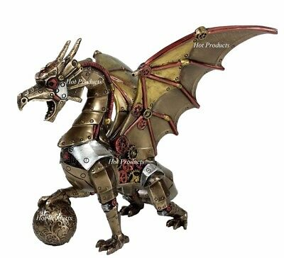 Steampunk Dragon Holding Orb Gothic Fantasy Statue Sculpture Bronze Finish