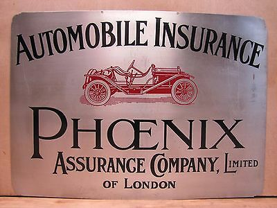 Old Automobile Insurance - Phoenix Assurance Co of London - Advertising Sign