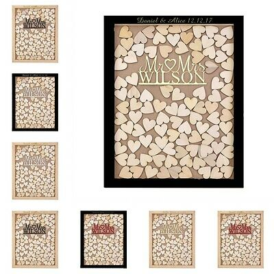 Personalized Engraved Mr & Mrs Heart Drop Top Wood Wedding Guest Book Frame