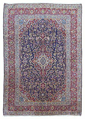 Large Semi-Antique Blue and Red Fine Wool Persian Kashan Rug 8X10