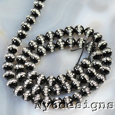 """*6x6mm Natural Black Onyx with Rhinestones Round Beads 15""""(ON70)a"""