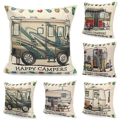 Happy Touring Car Square Campers Cushion Covers Throw Pillows Case Home Decor