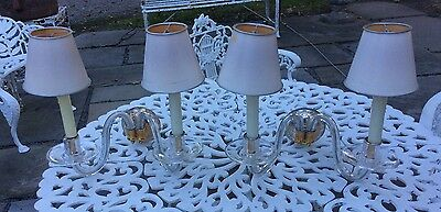 Beautiful Pair Of Vintage Glass Two Arm Wall Sconces