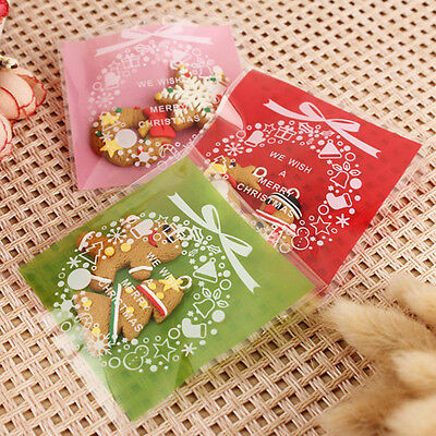 100PCS Cookie Packaging Christmas Santa Plastic Self Adhesive Gift Bags Sets RI