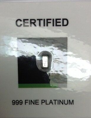 .999 Fine Platinum 1 Troy Grain Bar Certified *FREE SHIPPING ON ADDITIONAL BARS
