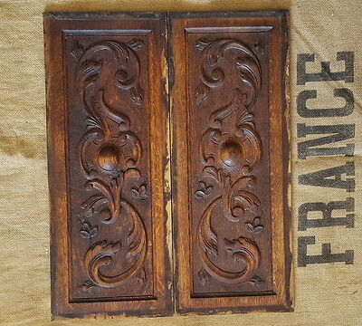 ANTIQUE FRENCH HAND CARVED WOOD PANEL PEDIMENT PLAQUE x 2 Scroll leaves